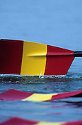 Barcelona, SPAIN. Spanish Oars/blades Quad passing through the water. 1992 Olympic Rowing Regatta Lake Banyoles, Catalonia [Mandatory Credit Peter Spurrier/ Intersport Images]