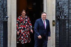 © Licensed to London News Pictures. 30/01/2020. LONDON, UK.  Mike Pompeo (R), US Secretary of State, departs Number 10 Downing Street after talks with Boris Johnson, Prime Minister.  On the agenda was believed to be China's Huawei providing 5G infrastructure to the UK.  Photo credit: Stephen Chung/LNP