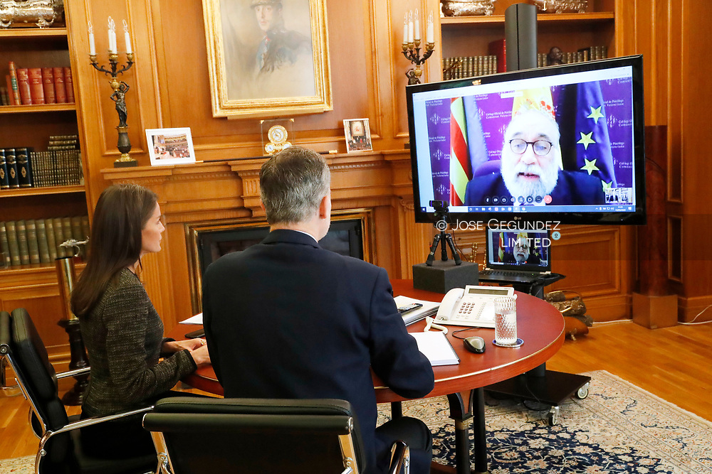 King Felipe VI of Spain, Queen Letizia of Spain attends a videoconference with General Council of Official Psychological Colleges at Zarzuela Palace on May 13, 2020 in Madrid, Spain
