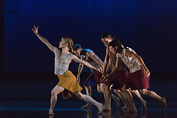 "© Licensed to London News Pictures. 18/11/2014. London, England. Hannah Rudd performing Terra Incognita choreographed by Shobana Jeyasingh. British dance company ""Rambert"" perform their new show ""Triptych"" at Sadler's Wells Theatre from 18 to 22 November 2014. Choreographed by Shobana Jeyasingh with Luke Ahmet, Lucy Balfour, Adam Blyde, Carolyn Bolton, Simone Damberg Würtz, Dane Hurt, Vanessa King, Adam Park, Hannah Rudd and Pierre Tappon dancing. Photo credit: Bettina Strenske/LNP"