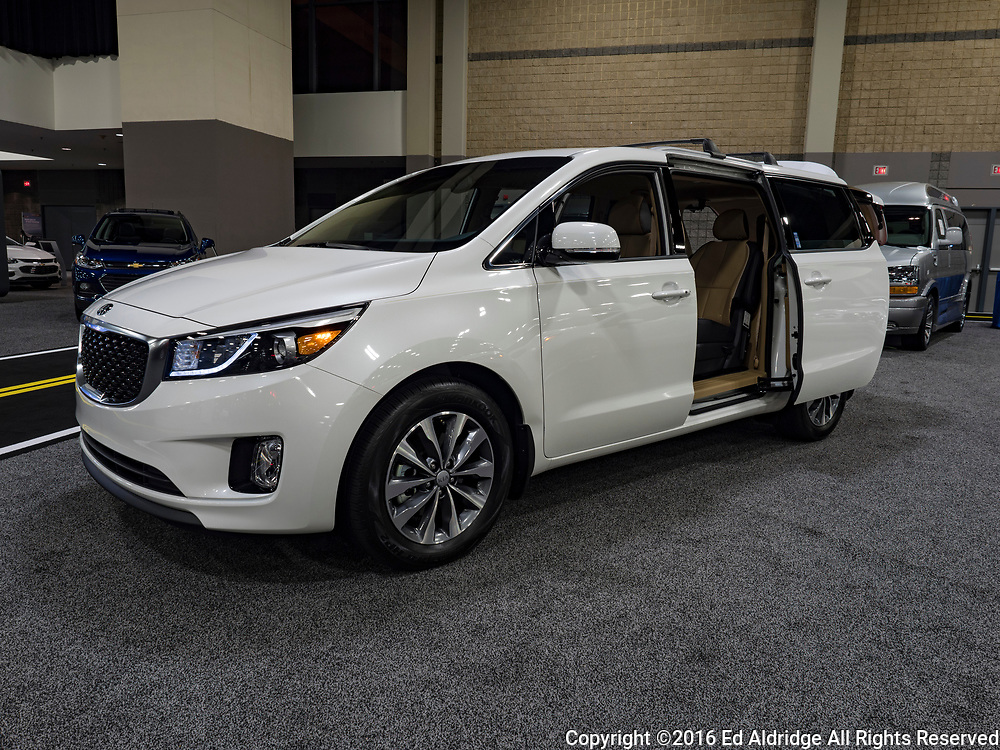 CHARLOTTE, NC, USA - NOVEMBER 17, 2016: Kia Sedona on display during the 2016 Charlotte International Auto Show at the Charlotte Convention Center in downtown Charlotte.