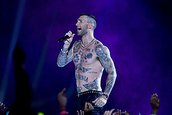 Adam Levine of Maroon 5 performs during the Pepsi Super Bowl LIII Halftime Show at Mercedes-Benz Stadium on February 3, 2019 in Atlanta, Georgia. Photo by Lionel Hahn/ABACAPRESS.COM