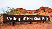 Entrance sign, Valley of Fire State Park, Nevada USA