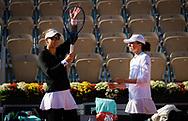 Nicole Melichar of the United States and Iga Swiatek of Poland celebrate winning their doubles quarter-final at the Roland Garros 2020, Grand Slam tennis tournament, on October 7, 2020 at Roland Garros stadium in Paris, France - Photo Rob Prange / Spain ProSportsImages / DPPI / ProSportsImages / DPPI