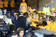 Usain Bolt of Jamaica with fans after winning the 100m during the Sainsbury's Anniversary Games at the Queen Elizabeth II Olympic Park, London, United Kingdom on 24 July 2015. Photo by Ellie Hoad.