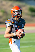 KELOWNA, BC - AUGUST 3:   Memphis Denouden #16 of Okanagan Sun readies to throw the ball during warm up against the Kamloops Broncos at the Apple Bowl on August 3, 2019 in Kelowna, Canada. (Photo by Marissa Baecker/Shoot the Breeze)