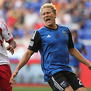 Steven Lenhart, (right), San Jose Earthquakes, is defended by Jamison Olave, New York Red Bulls, during the New York Red Bulls Vs San Jose Earthquakes, Major League Soccer regular season match at Red Bull Arena, Harrison, New Jersey. USA. 19th July 2014. Photo Tim Clayton