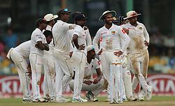 November 23, 2018 - Colombo, Sri Lanka - Sri Lankan cricketers look at the big screen during the 1st day's play in the 3rd and final test cricket match between England and Sri Lanka at SSC international cricket stadium, Colombo, Sri Lanka. 11-23-2018  (Credit Image: © Tharaka Basnayaka/NurPhoto via ZUMA Press)