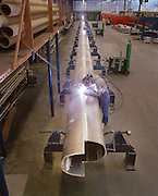 Welding on a mast of Athena, a three masted schooner,  built by the Royal Huisman Shipyard of Vollenhove, Holland.