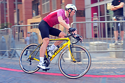 JOHANNESBURG, SOUTH AFRICA – AUGUST 13: Jarrad van Zuydam accelerates into a corner during the Helivac Melrose Arch Criterium race on 13 August 2017 in Johannesburg, South Africa. Cyclists competed in a criterium race hosted at the popular Merose Arch, criterium racing takes place on short course within a closed circuit. The racing is hotly contested over a number of laps as riders jostle for posistion. (Photo by Dino Lloyd)