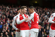 Calum Chambers of Arsenal celebrates scoring his sides 1st goal with Kieran Gibbs of Arsenal. The Emirates FA cup, 4th round match, Arsenal v Burnley at the Emirates Stadium in London on Saturday 30th January 2016.<br /> pic by John Patrick Fletcher, Andrew Orchard sports photography.