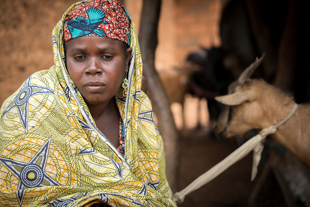 3 June 2019, Djohong, Cameroon: A woman passes her day in the Borgop refugee camp taking care of her 8 goats. Supported by the Lutheran World Federation, she once started out with 3 goats. Today, she is able to sell off a goat twice per year, earning an income of 20,000 CAF per goat. The Borgop refugee camp is located in the municipality of Djohong, in the Mbere subdivision of the Adamaoua regional state in Cameroon. Supported by the Lutheran World Federation since 2015, the camp currently holds 12,300 refugees from the Central African Republic.