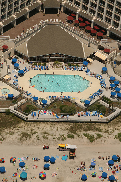 Aerial image of people at a hotel and resort on Wrightsville Beach, North Carolina.