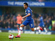 Chelsea's Pedro during an English Premier League soccer match between Chelsea and Everton at Stamford Bridge stadium, Sunday, March 8, 2020, in London, United Kingdom. Chelsea defeated Everton 4-0. (Mitchell Gunn-ESPA Images/Image of Sport via AP)