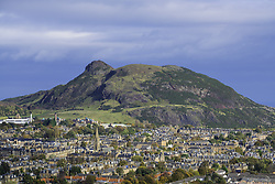 View of Arthur's Seat hill overlooking Edinburgh, Scotland, United Kingdom