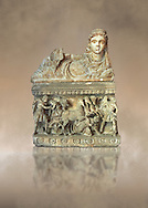 Etruscan Hellenistic style cinerary, funreary, urn , with a chariot, inv 5704,  National Archaeological Museum Florence, Italy .<br /> <br /> If you prefer to buy from our ALAMY PHOTO LIBRARY  Collection visit : https://www.alamy.com/portfolio/paul-williams-funkystock - Scroll down and type - Etruscan Florence - into LOWER search box. (TIP - Refine search by adding a background colour as well).<br /> <br /> Visit our ETRUSCAN PHOTO COLLECTIONS for more photos to download or buy as wall art prints https://funkystock.photoshelter.com/gallery-collection/Pictures-Images-of-Etruscan-Historic-Sites-Art-Artefacts-Antiquities/C0000GgxRXWVMLyc