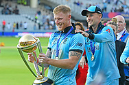 Ben Stokes of England and Joe Root of England celebrating on the lap of honour after winning the Cricket World Cup during the ICC Cricket World Cup 2019 Final match between New Zealand and England at Lord's Cricket Ground, St John's Wood, United Kingdom on 14 July 2019.