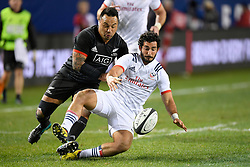 November 3, 2018 - Chicago, IL, U.S. - CHICAGO, IL - NOVEMBER 03: Maori All Blacks Ash Dixon (2) and Ryan Matyas (11) of USA battle for the ball in action during the Rugby Weekend match between the New Zealand Maori All Blacks and the USA Eagles on November 3, 2018 at Soldier Field, in Chicago, Illinois.  (Photo by Robin Alam/Icon Sportswire) (Credit Image: © Robin Alam/Icon SMI via ZUMA Press)