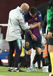 October 20, 2018 - Barcelona, Catalonia, Spain - Leo Messi is injured during the match between FC Barcelona and Sevilla CF, corresponding to the week 9 of the Liga Santander, played at the Camp Nou, on 20th October 2018, in Barcelona, Spain.  Photo: Joan Valls/Urbanandsport /NurPhoto. (Credit Image: © Joan Valls/NurPhoto via ZUMA Press)