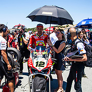 Jun 23  2018  Monterey, CA, U.S.A  # 12 Xavi Fores on the grid during the Motul FIM World Superbike Race # 1 at Weathertech Raceway Laguna Seca  Monterey, CA  Thurman James / CSM