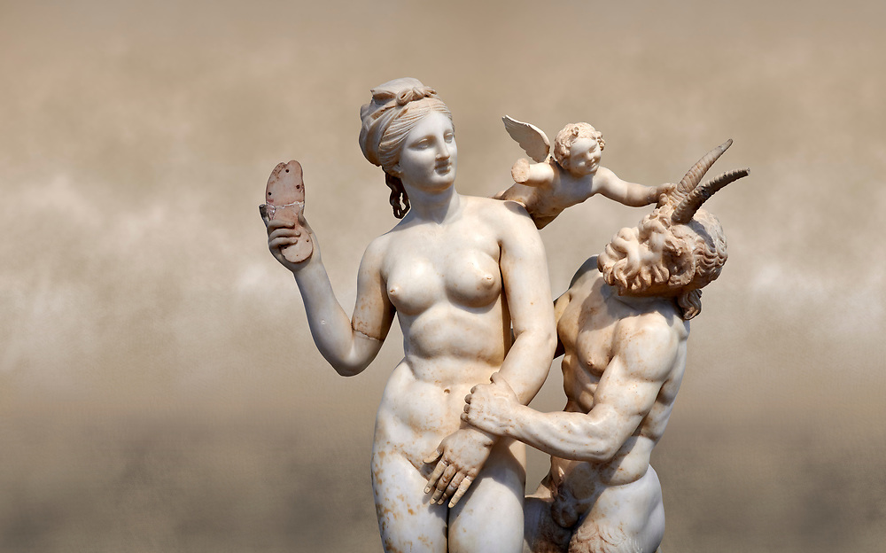 Hellenstic marble statue group of Aphrodite (Venus) with Pan and Eros, Circa 100 BC, House of Poseidonaistai of Beryttos, Delos, Athens National Archaeological Museum.  Cat no 3335.<br /> <br /> The nude goddess Aphrodite (Venus) attempte to fend off goat footed Pan who make erotic advances towards her. Aphrodite holds a sandal in her right hand threatening Pan while the winged god Eros comes to her aid. According to an inscription on the statues base it was dedicated to Dionysus of Beryttos (Beirut) to hai ancestral gods. .<br /> <br /> If you prefer to buy from our ALAMY STOCK LIBRARY page at https://www.alamy.com/portfolio/paul-williams-funkystock/greco-roman-sculptures.html . Type -    Athens    - into LOWER SEARCH WITHIN GALLERY box - Refine search by adding a subject, place, background colour, etc.<br /> <br /> Visit our ROMAN WORLD PHOTO COLLECTIONS for more photos to download or buy as wall art prints https://funkystock.photoshelter.com/gallery-collection/The-Romans-Art-Artefacts-Antiquities-Historic-Sites-Pictures-Images/C0000r2uLJJo9_s0