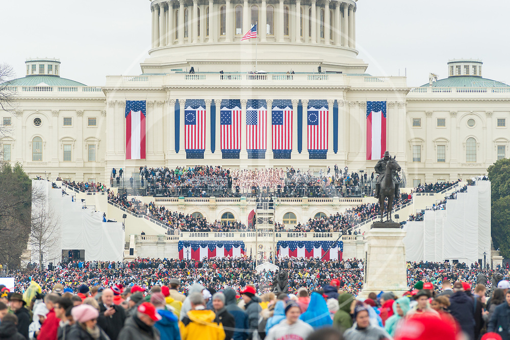 Washington DC, United States - The crowd disperses following the 2017 inauguration ceremony for Donald J. Trump.