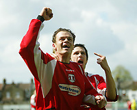 Photo: Chris Ratcliffe.<br />Leyton Orient v Peterborough United. Coca Cola League 2. 29/04/2006.<br />Matthew Lockwood of Orient celebrates scoring from the spot to make it 1-0.