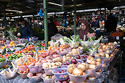 People out shopping in Bullring Open Market, an outdoor food, fruit and vegetable market in central Birmingham on 14th March 2020 in Birmingham, United Kingdom. The Open Market offers a huge variety of fresh fruit and vegetables, fabrics, household items and seasonal goods. The Bull Ring Open Market has 130 stalls.
