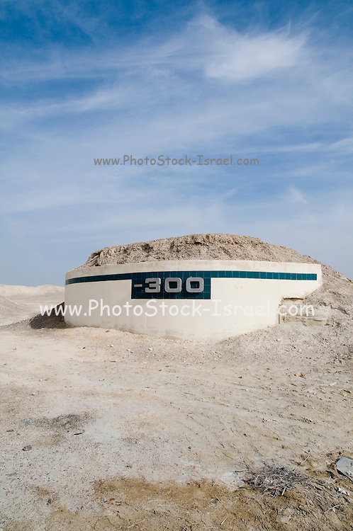 Israel, Dead Sea, The lowest place on earth, a marking of  300 meters (985 feet) bellow sea level