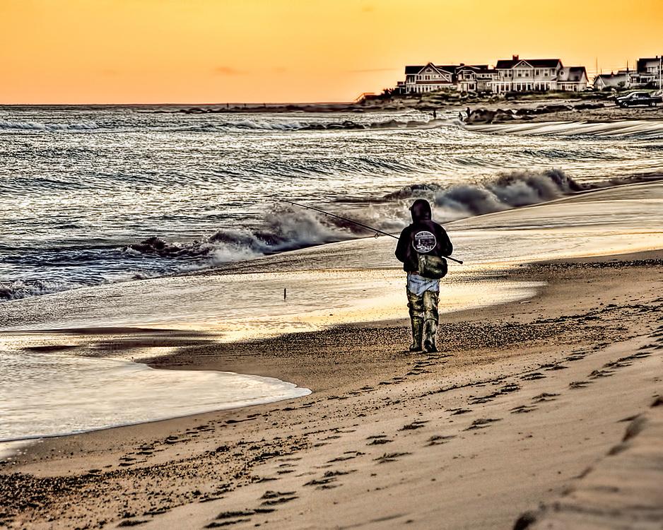 Surf fishing at East Beach, Charlestown, RI Charlestown and Misquamecut, Rhode Island.