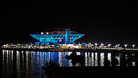 St. Petersburg Pier with Holiday Colors at Night. View from a balcony at the Historic Vinoy Hotel. Image taken with a Nikon D3 camera and 200 mm f/2 lens.