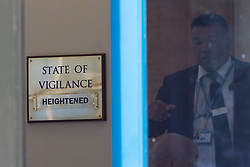 Cabinet Office, London, June 4th 2017. A brass plaque in the Cabinet Office shows the current 'state of vigilance' as the the emergency COBRA Committee meets following the London Bridge and Borough Markets terrorist incidents overnight which claimed the lives of six members of the public and injured over twenty more.
