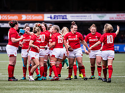 Wales players celebrate the win<br /> <br /> Photographer Simon King/Replay Images<br /> <br /> Six Nations Round 5 - Wales Women v Ireland Women- Sunday 17th March 2019 - Cardiff Arms Park - Cardiff<br /> <br /> World Copyright © Replay Images . All rights reserved. info@replayimages.co.uk - http://replayimages.co.uk