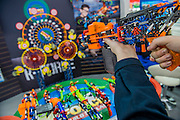 Make your own foam dart gun on the Knex stand - The annual London Toy Fair, the trade show for the toy and games industry, takes place at Olympia.