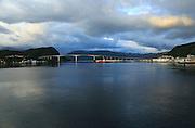 Large concrete road bridge, Nordsund Bridge, Kristiansund, Romsdal county, Norway