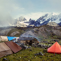 Base camp for an early mountaineering school for climbing sherpas in the Khumbu region of Nepal, 1980