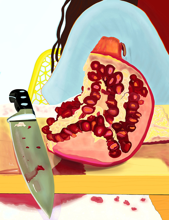 A sliced and juicy Pomegranate and knife sit on a cutting board on a kitchen counter.
