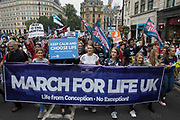 Hundreds of pro-life campaigners march around Trafalgar Square during the anti-abortion March for Life on 4th September 2021 in London, United Kingdom. The march was organised by pro-life Christian groups including The Good Counsel Network and March For Life UK.