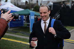 © Licensed to London News Pictures. 15/01/2019. London, UK. Former Secretary of State for Exiting the European Union Dominic Raab MP on College Green. MPs will vote on Prime Minister Theresa May's Brexit deal this evening. Photo credit: Rob Pinney/LNP