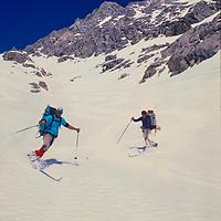 Ski Mountaneers descend Paiute Pass in the John Muir Wilderness, Sierra Nevada, California.