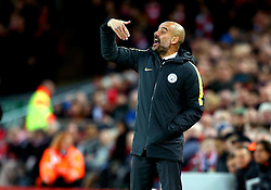 Manchester City manager Pep Guardiola shouts instructions - Mandatory by-line: Matt McNulty/JMP - 31/12/2016 - FOOTBALL - Anfield - Liverpool, England - Liverpool v Manchester City - Premier League