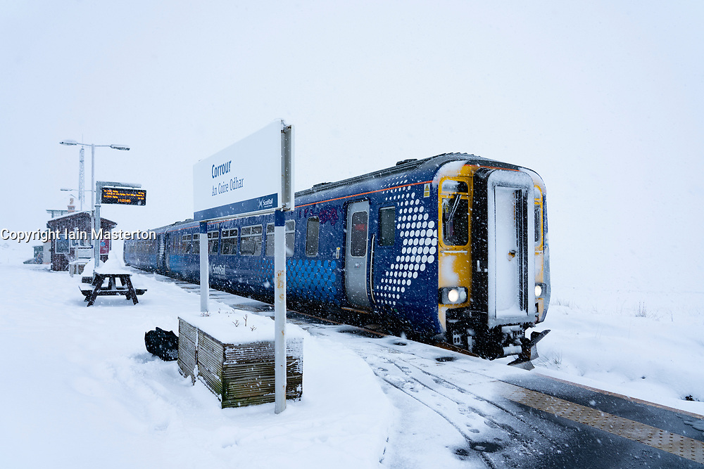 Scotrail train at Corrour Station on way to Mallaig on the West Highland Line. Corrour Station is the highest railway in Britain at1338 feet above sea level.