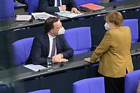 DEU, Deutschland, Germany, Berlin, 04.03.2021: Bundesgesundheitsminister Jens Spahn (CDU) und Bundeskanzlerin Dr. Angela Merkel (CDU) in der Plenarsitzung im Deutschen Bundestag.