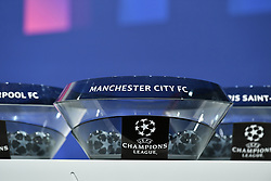 NYON, SWITZERLAND - Monday, December 14, 2020: The draw pot for Manchester City FC during the UEFA Champions League 2020/21 Round of 16 draw at the UEFA Headquarters, the House of European Football. (Photo Handout/UEFA)