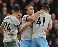 Football - 2018 / 2019 Premier League - Crystal Palace vs. West Ham United<br /> <br /> Mark Noble (18) celebrates his goal with Declan Rice, at Selhurst Park.<br /> <br /> COLORSPORT/ANDREW COWIE