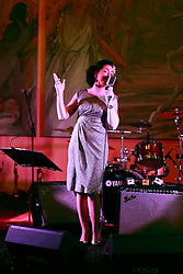 08 November 2014. New Orleans, Louisiana. <br />  2014 International Irish Famine Commemoration, Gallier Hall.<br /> Singer Tara O'Grady performs.<br /> Photo; Charlie Varley/varleypix.com
