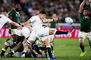 Ben Youngsof England kicks the ball during the Rugby World Cup  final match between England and South Africa at the International Stadium ,  Saturday, Nov. 2, 2019, in Yokohama, Japan. South Africa defeated England 32-12. (Florencia Tan Jun/ESPA-Image of Sport)