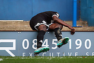 Leon Barnett of Wigan Athletic falls backwards over the advertising boarding. Skybet football league one match , Bury v Wigan Athletic at the JD Stadium in Bury, Lancs on Saturday 10th October 2015.<br /> pic by Chris Stading, Andrew Orchard sports photography.