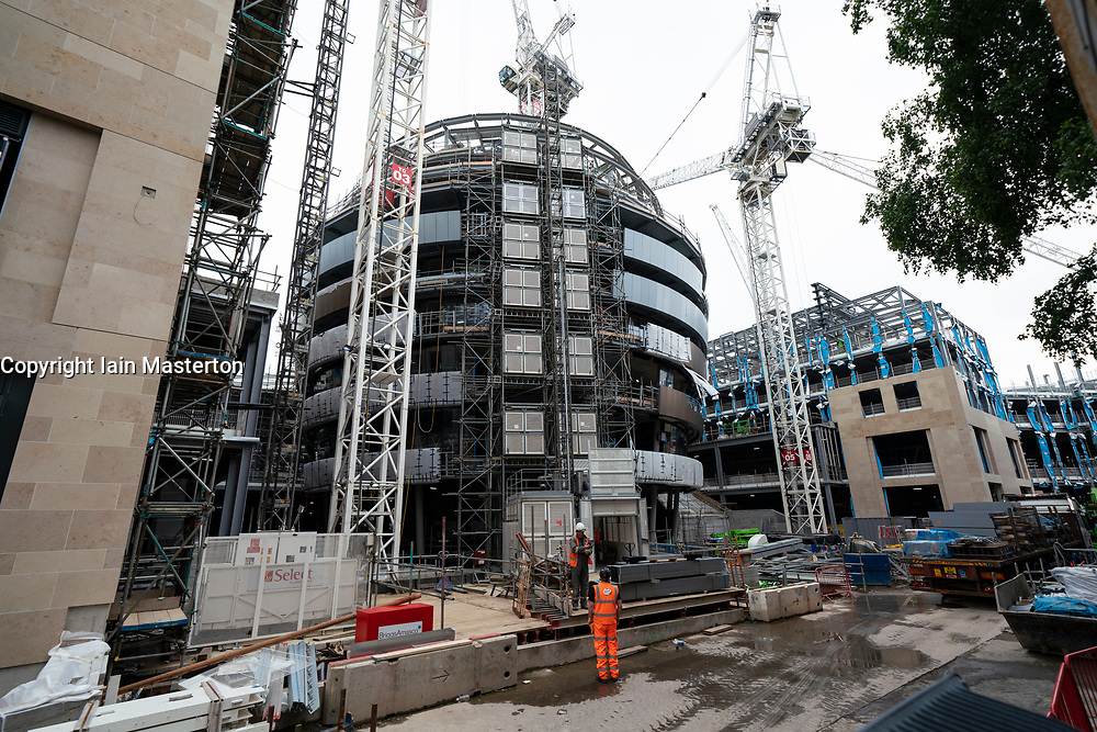 Construction work at new W Edinburgh Hotel at St James Centre development in Edinburgh, Scotland, UK