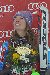 07.12.2012, Engiadina Rennstrecke, St. Moritz, SUI, FIS Ski Alpin Weltcup, Super Combination, Damen, Podium, im Bild Tina Maze (SLO) waehrend der Siegerehrung // celebrate on Podium of ladies Super Combined of FIS ski alpine world cup at the Engiadina course, St. Moritz, Switzerland on 2012/12/07. EXPA Pictures © 2012, PhotoCredit: EXPA/ Freshfocus/ Andreas Meier..***** ATTENTION - for AUT, SLO, CRO, SRB, BIH only *****